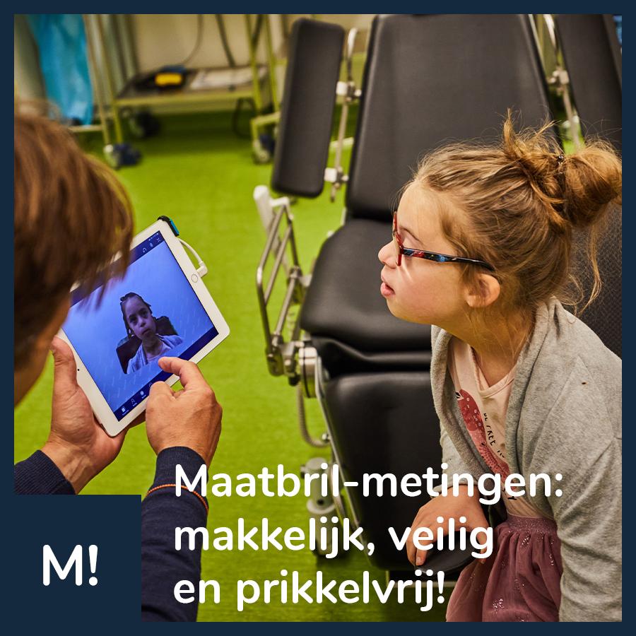 """Social media post van Maatbril op facebook: """"Maatbril-metingen: makkelijk, veilig en prikkelvrij!"""""""