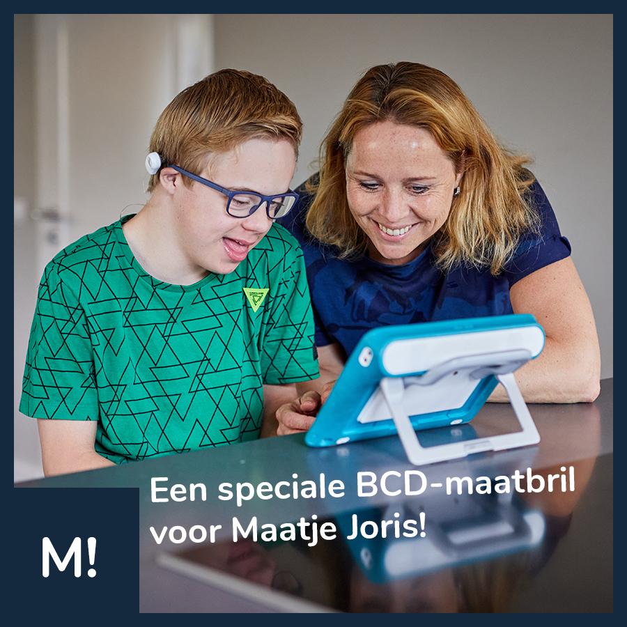 """Social media post van Maatbril op facebook: """"Een speciale BCD-maatbril voor Maatje Joris!"""""""