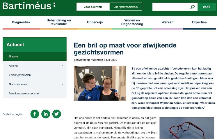 """Screenshot van het artikel """"Een bril op maat voor afwijkende gezichtsvormen"""", op de website van Bartiméus, 6 juli 2020."""