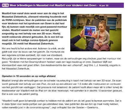 """Screenshot van het artikel """"Weer brilmetingen in Maasstad met Maatbril voor kinderen met Down"""", op de website van Nationale Zorggids, 16 juni 2020."""