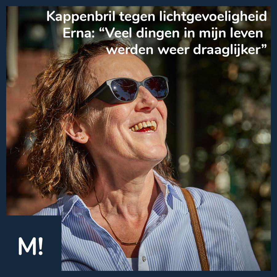 """Social media post van Maatbril op facebook: """"Kappenbril tegen lichtgevoeligheid. Erna: 'Veel dingen in mijn leven werden weer draaglijker'"""""""